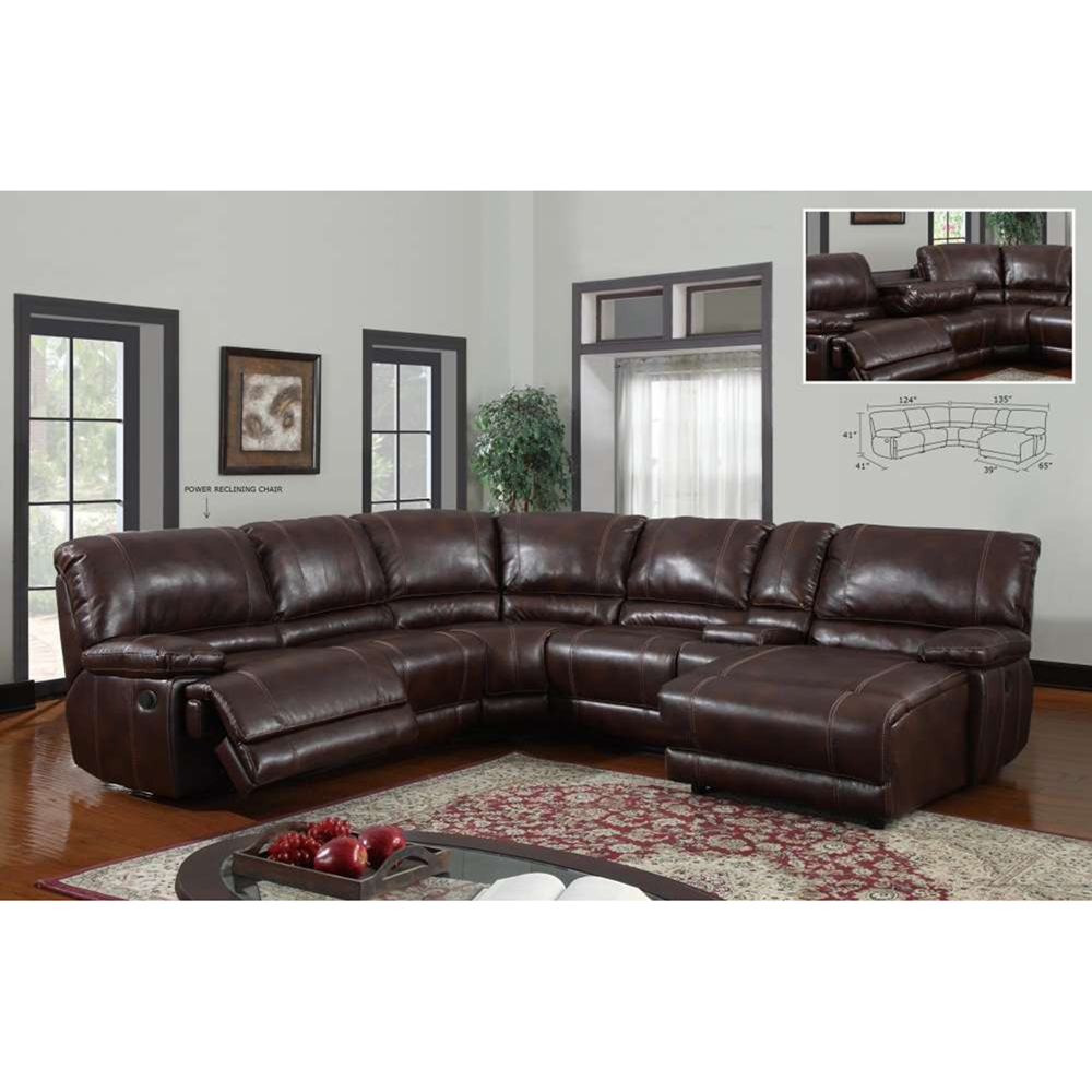 Cristian 6 Piece Leather Sectional Sofa Brown Dcg Stores