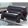 Valerie Bonded Leather Loveseat - Mahogany Legs, Black - GLO-U2033-RV-BL-L