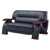 Valerie Bonded Leather Sofa Set In Black With Mahogany Legs | Dcg