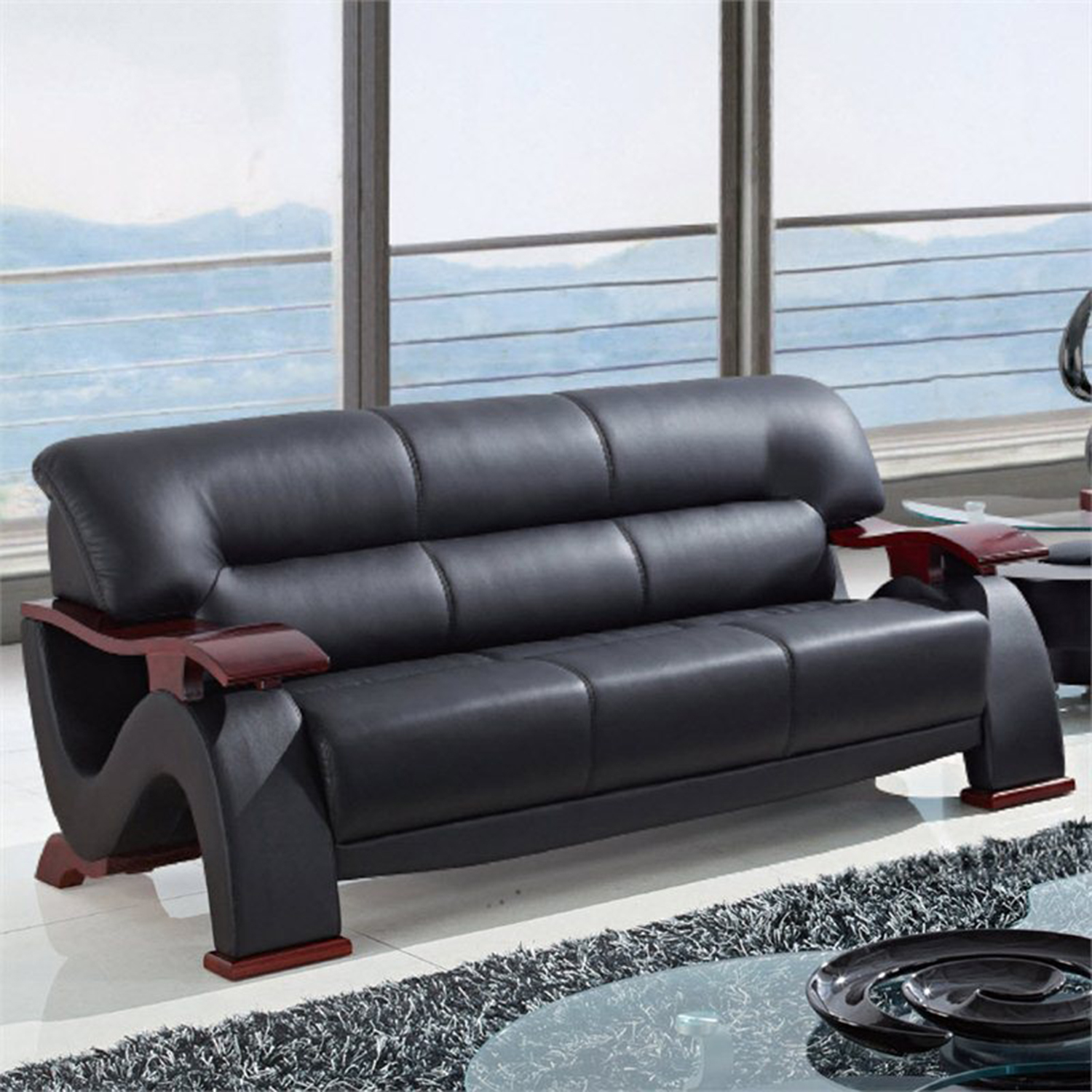 ... Valerie Bonded Leather Sofa Set In Black With Mahogany Legs    GLO U2033 RV