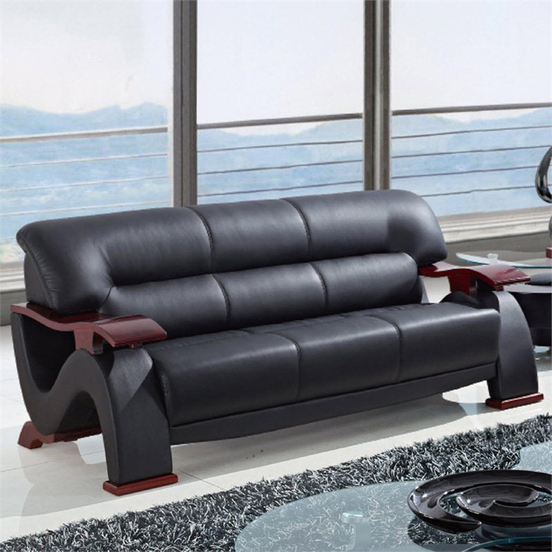 ... Valerie Bonded Leather Sofa Set In Black With Mahogany Legs    GLO U2033 RV