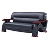 Valerie Bonded Leather Sofa Set In Black With Mahogany Legs DCG - Mahogany leather sofa