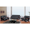 Valerie Bonded Leather Sofa Set in Black with Mahogany Legs