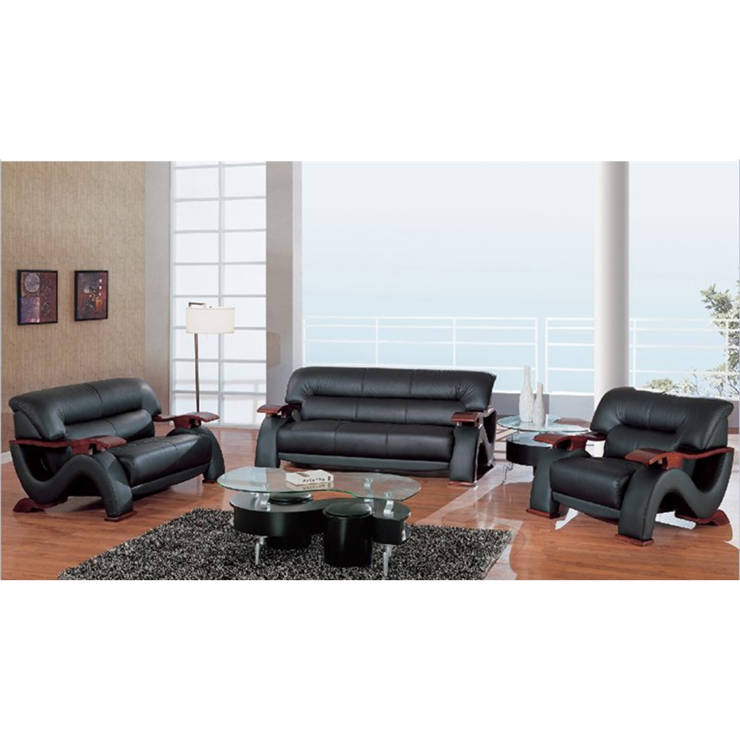 Valerie Bonded Leather Sofa Set In Black With Mahogany Legs   GLO U2033 RV  ...