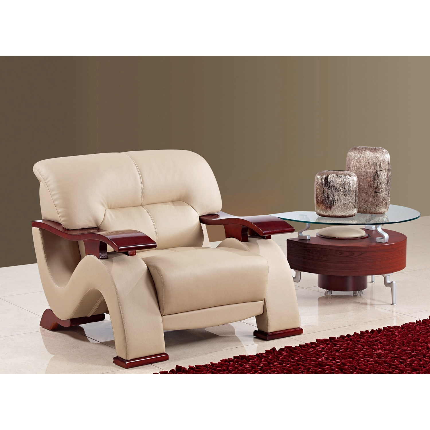 ... Valerie Bonded Leather Sofa Set In Cappuccino Upholstery With Mahogany  Legs   GLO U2033  ...
