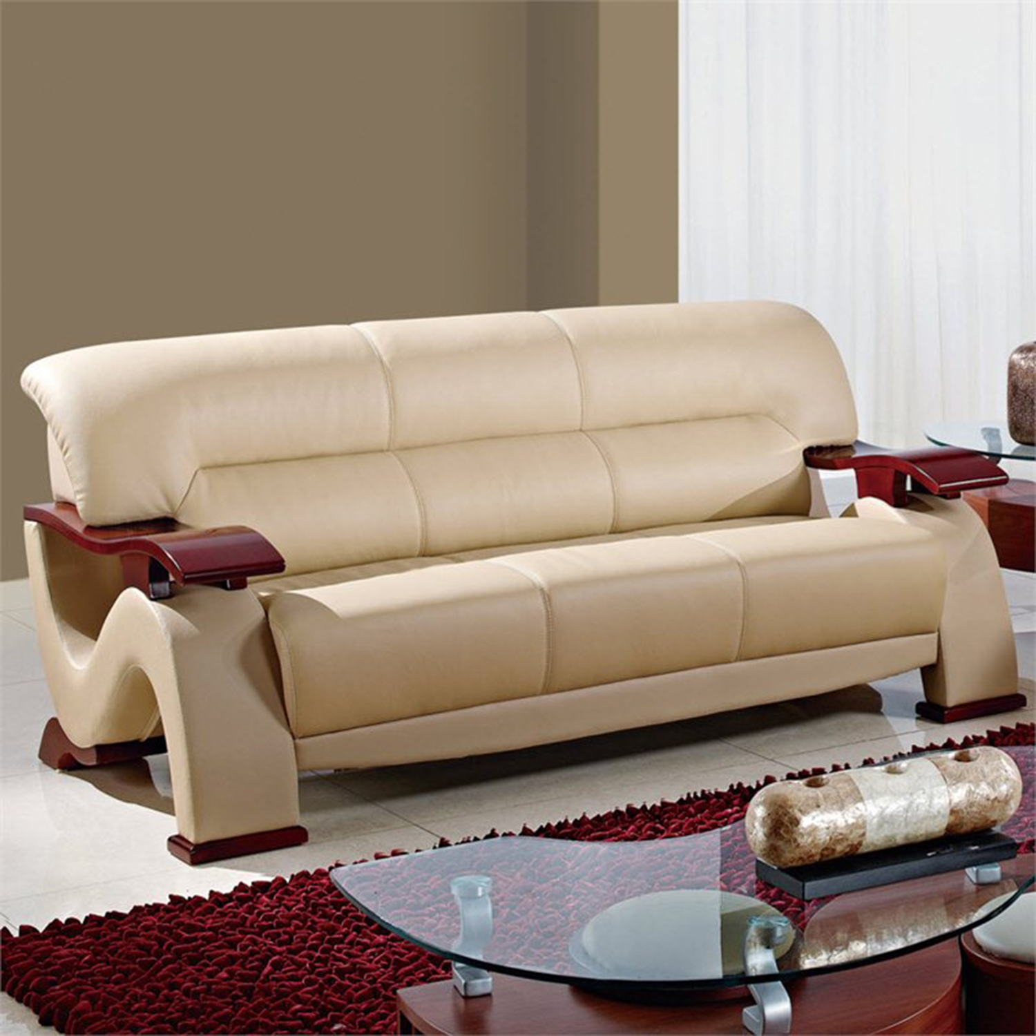 Valerie Bonded Leather Sofa Set in Cappuccino Upholstery with Mahogany Legs - GLO-U2033-RV-CAP-SET