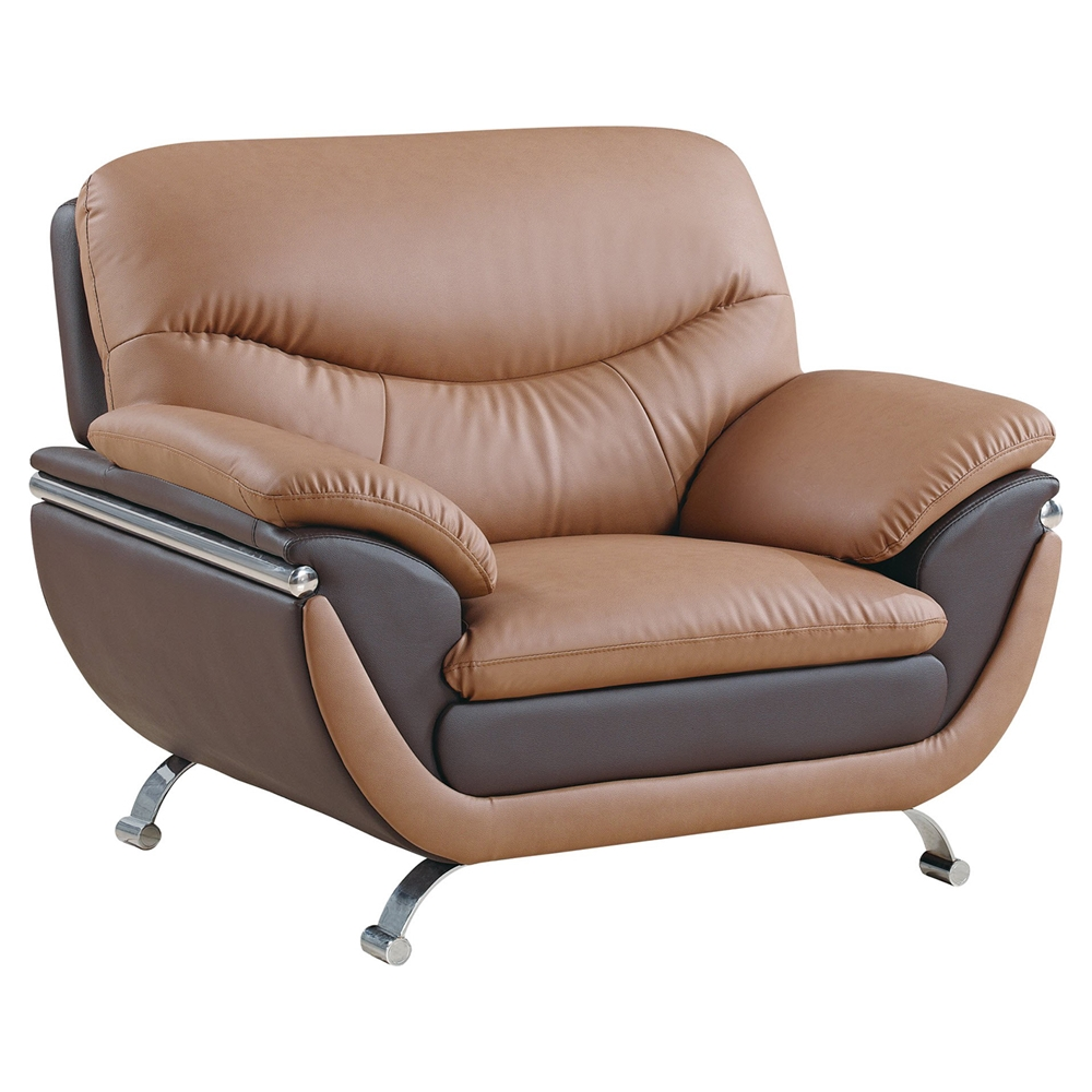 A Glass And Gold Bar Cart Brown Leather Armchair And: Light Brown And Dark Brown Leather, Chrome Legs