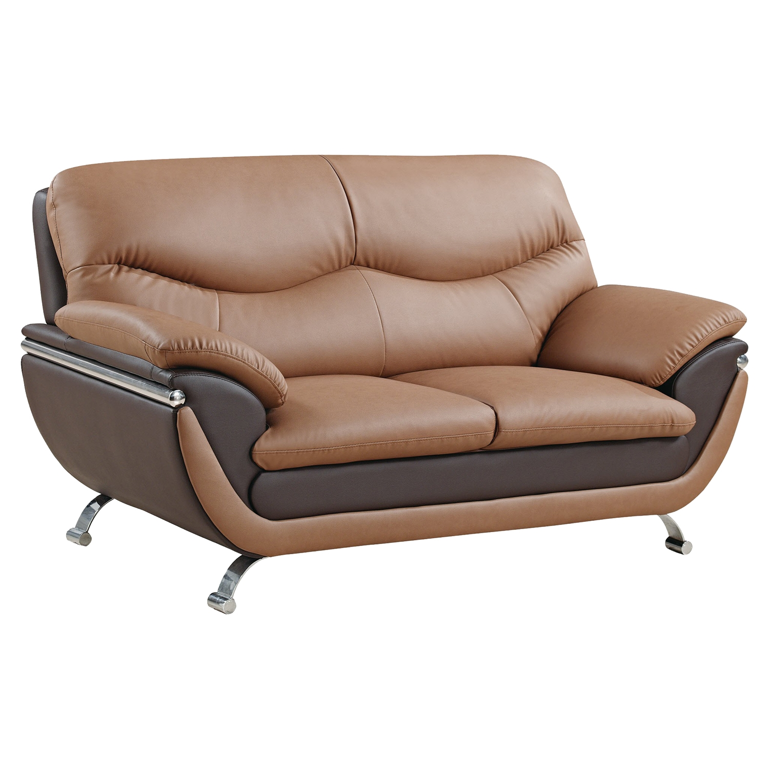 Loveseat - Light Brown and Dark Brown Leather, Chrome Legs - GLO-U2106-RV-L