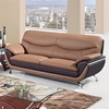 Sofa - Light Brown and Dark Brown Leather, Chrome Legs - GLO-U2106-RV-S