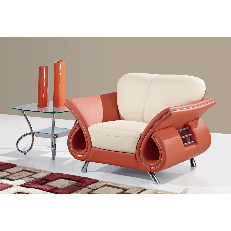 Wesley Sofa Set  Beige and Orange Leather  GLO U559 LV SET