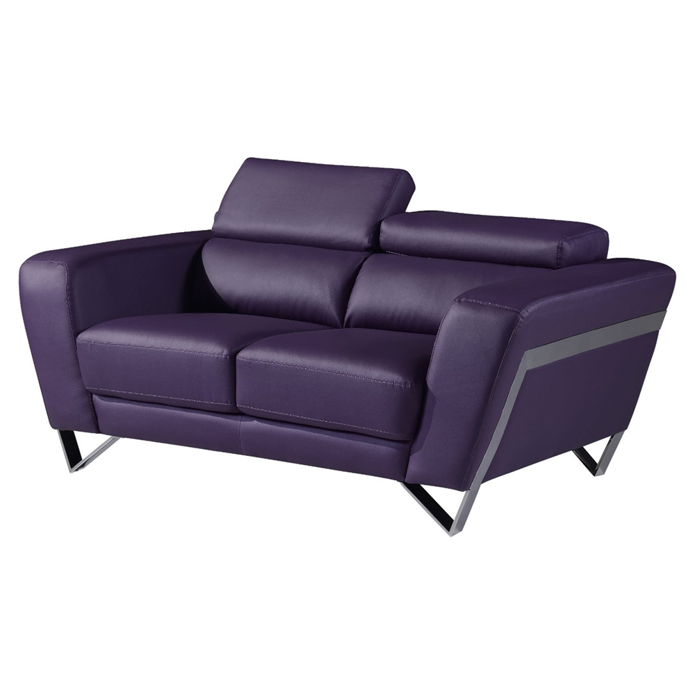 Braden sofa set with headrest natalie purple dcg stores for Purple couch set