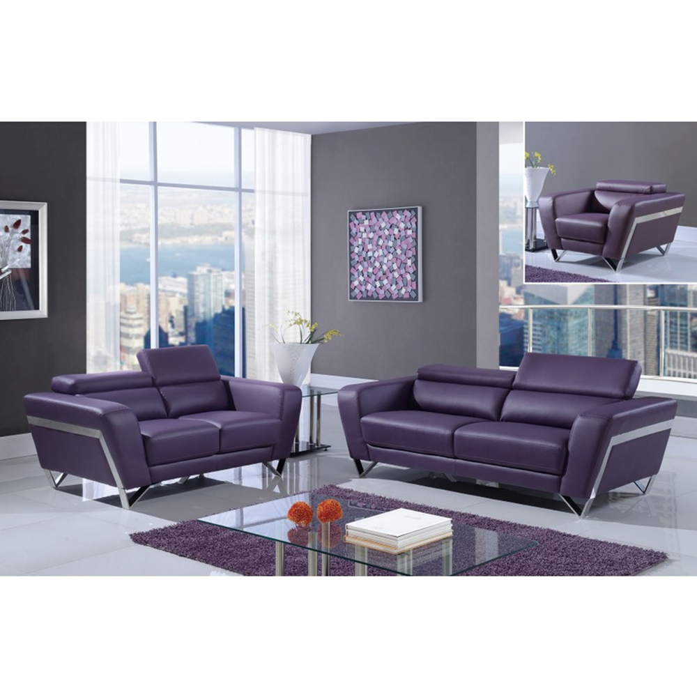 Braden Sofa Set With Headrest Natalie Purple Dcg Stores