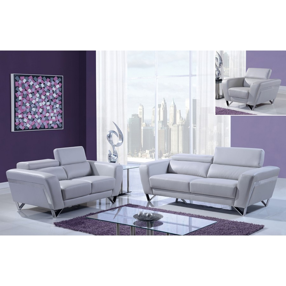 Sectional Gray Sofa Set: Braden Sofa Set - Light Gray