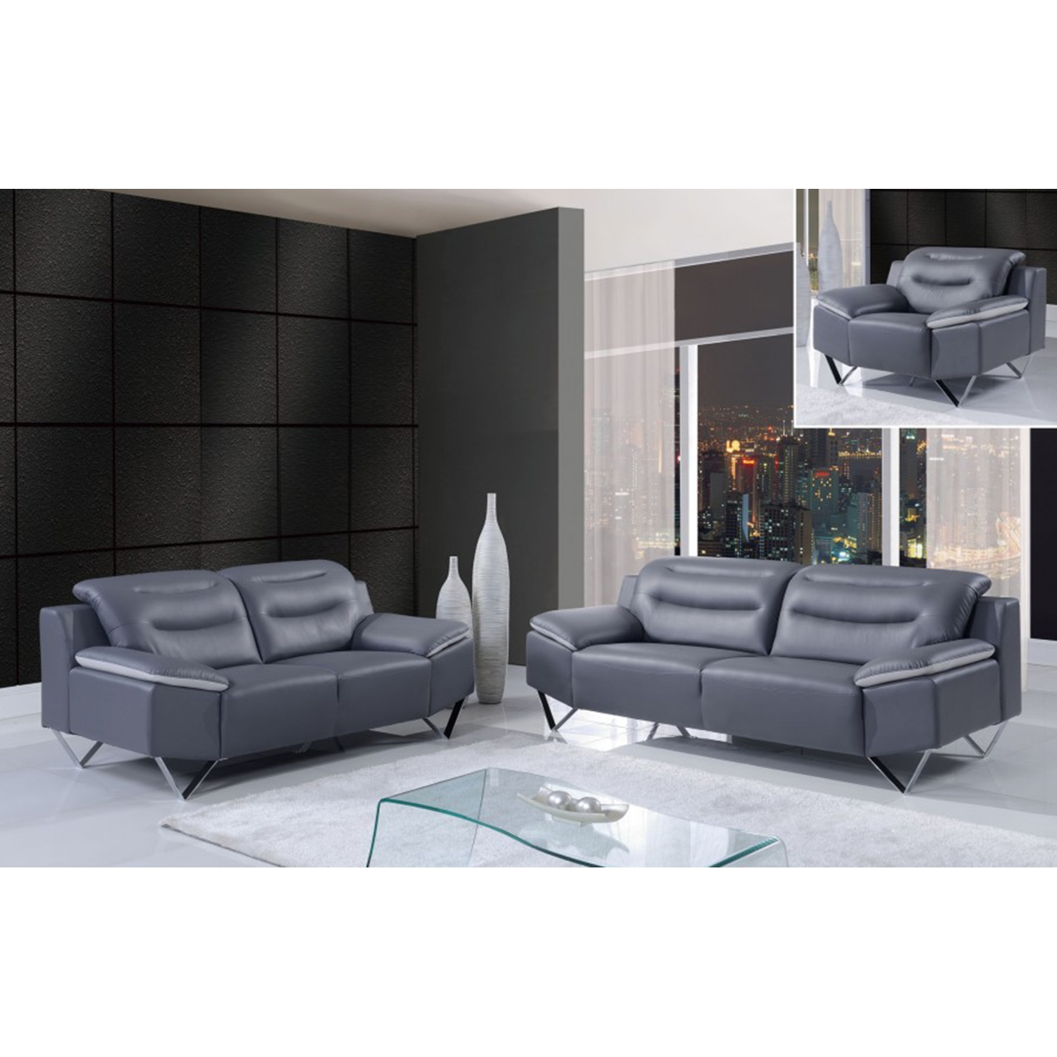 Liliana Sofa Set in Natalie Dark Gray/Light Gray - GLO-U7181-R6U6-SET
