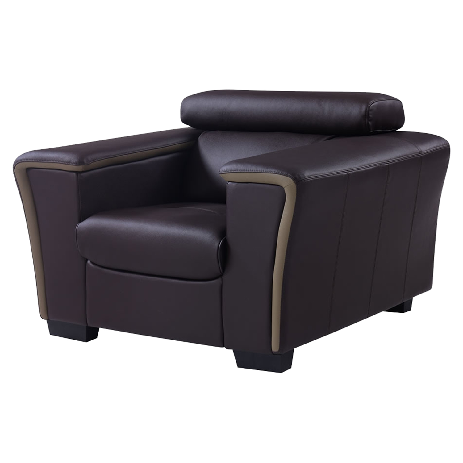 Mikayla Sofa Set with Headrest Function in Chocolate/Dark Cappuccino - GLO-U7190-L6R-SET
