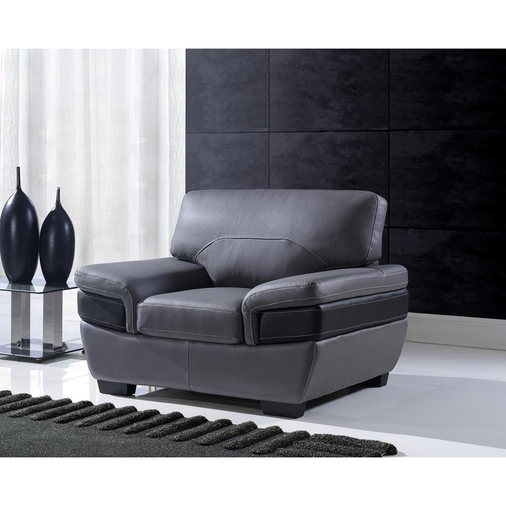 Madrid Taupe Beige Ultra Modern Living Room Furniture 3: Alicia Leather Sofa Set - Dark Gray/Black