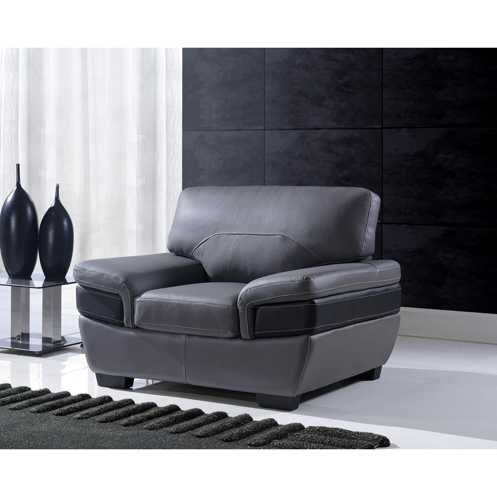 Sectional Gray Sofa Set: Alicia Leather Sofa Set - Dark Gray/Black
