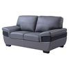 Alicia Leather Loveseat, Dark Gray/Black - GLO-U7230-L6R-L