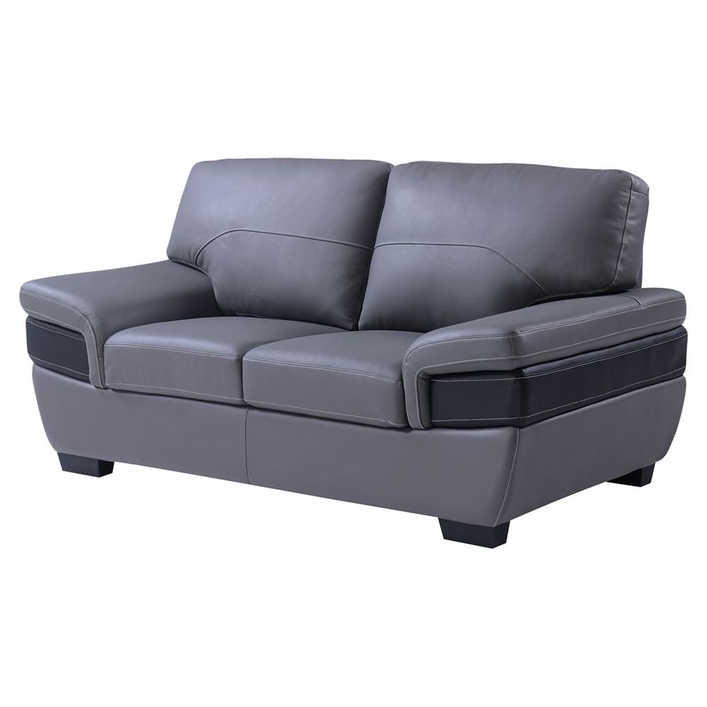 Alicia leather sofa set dark gray black dcg stores for Grey sofa set
