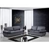 Alicia Leather Sofa Set - Dark Gray/Black