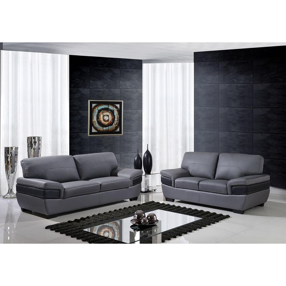 Sectional Gray Sofa Set: Alicia Leather Sofa Set - Dark Gray/Black