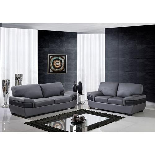 Alicia Leather Sofa Set Dark Gray Black