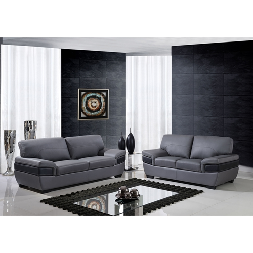 Alicia Leather Sofa Set Dark Gray Black Dcg Stores