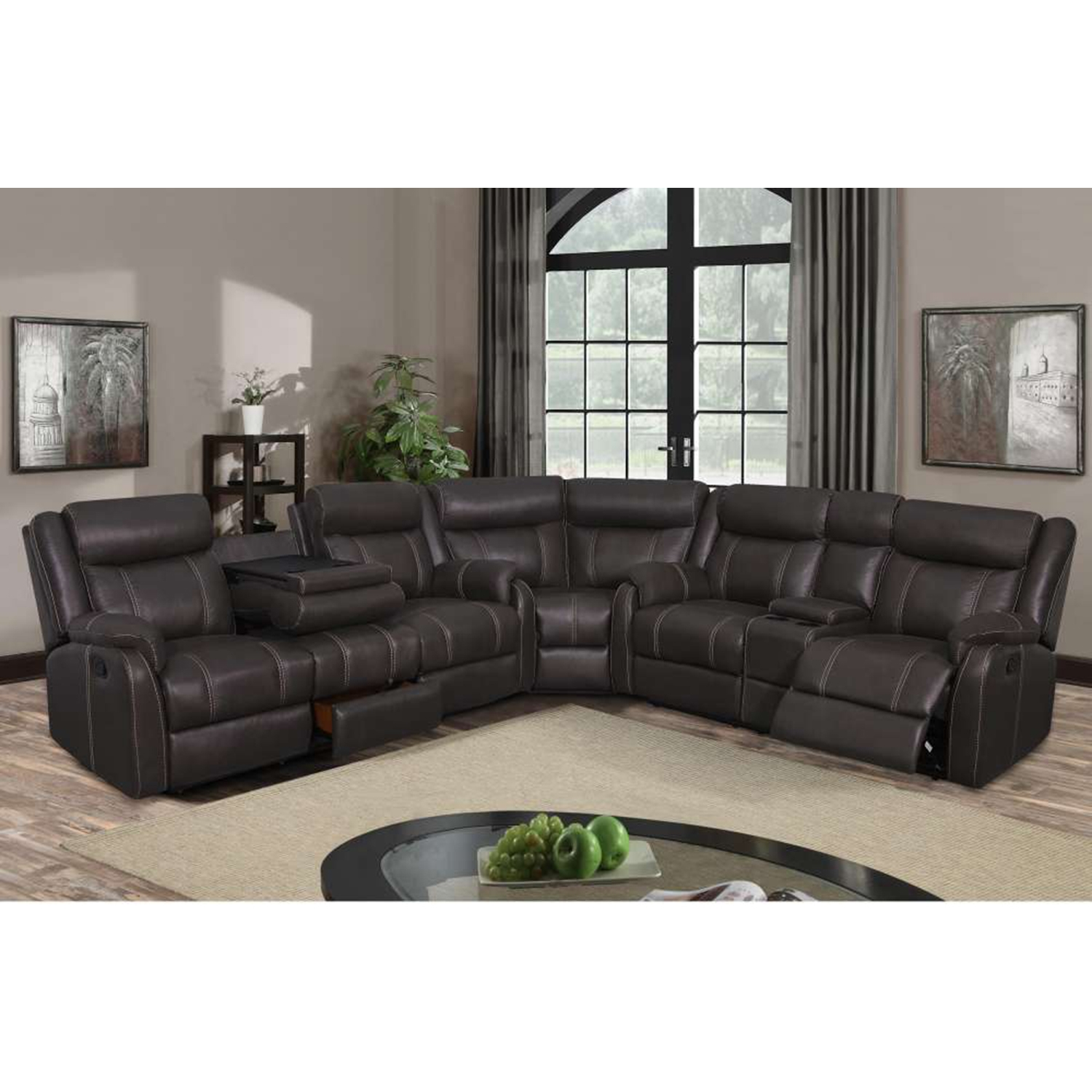 natalia 3piece sectional sofa in gin rummy seal sc 1 st dcg stores
