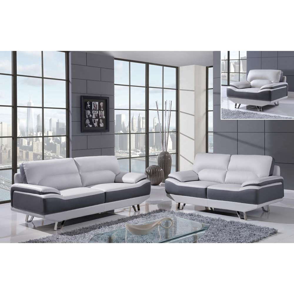 Sectional Gray Sofa Set: Jasmin Sofa Set - Natalie Light Gray/Dark Gray