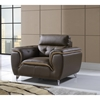Jalen Sofa Set in Dark Khaki/Natalie Cappuccino Leather - GLO-U7390-R6U6-DK-SET