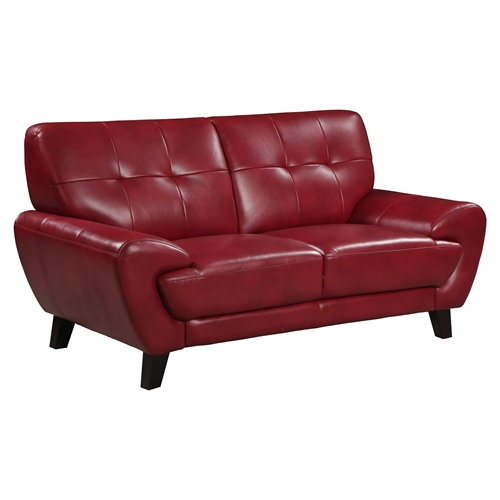 Furniture Stores Usa: Juliana Leather Loveseat, Blanche Red