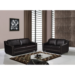 Leather Sofa Set in Agnes Walnut with Nailhead Trim