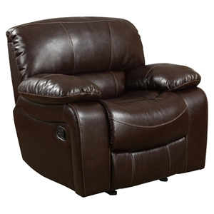 Leather Glider Recliner Chair in Burgundy