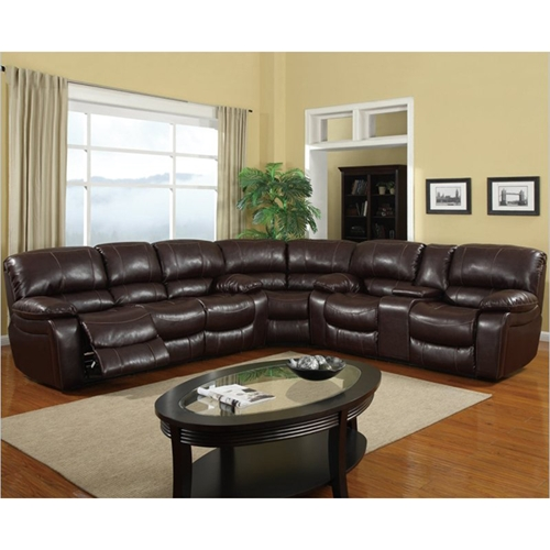 Piece Sectional Sofa Burgundy Leather