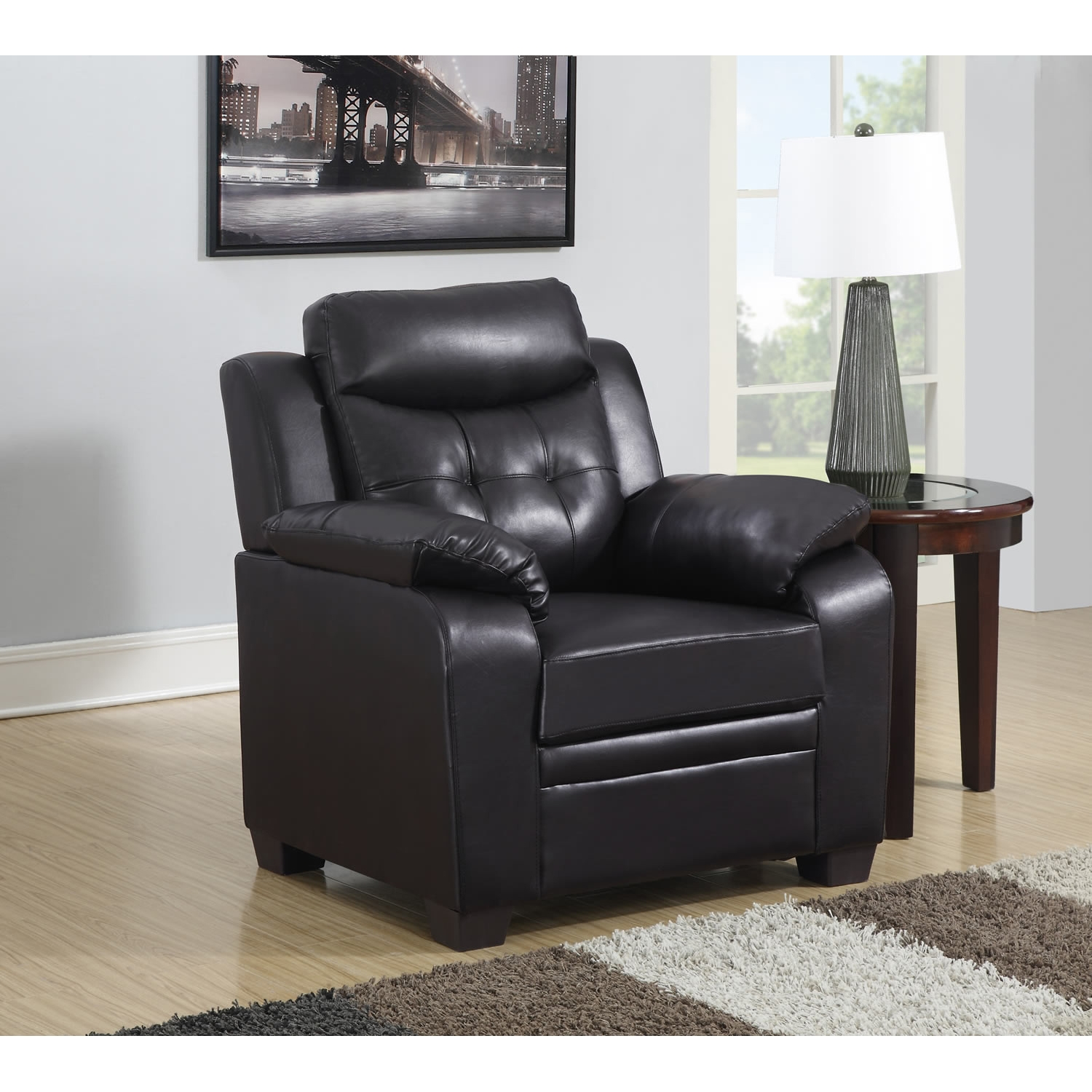 Daniela Bonded Leather Chair in Chocolate - GLO-U880016KD-CH-M