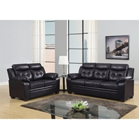 Daniela Bonded Leather Sofa Set in Chocolate
