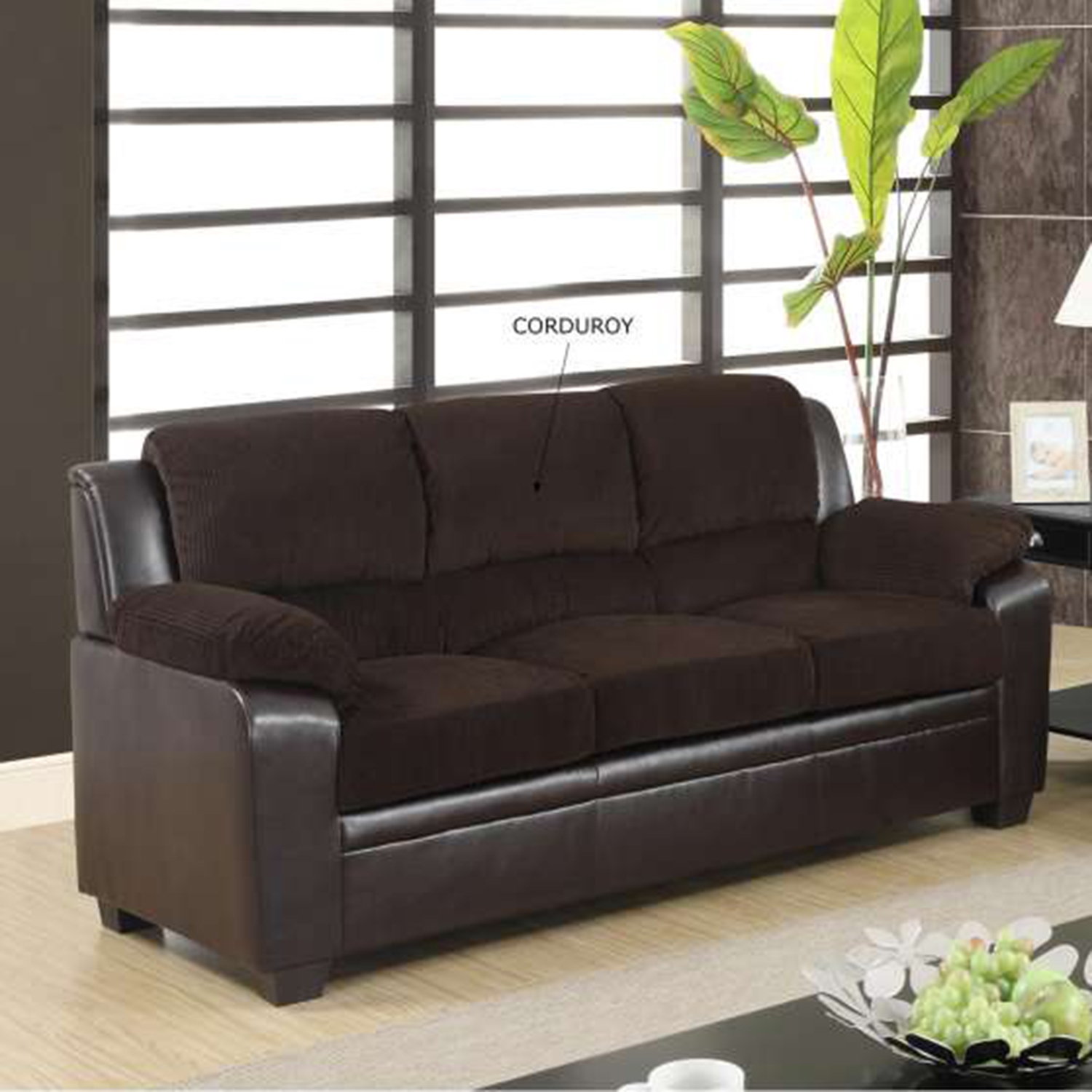 Fernando Sofa Set in Chocolate/Brown - GLO-U880018KD-CHOC-SET