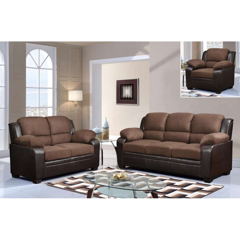 Fernando Sofa Set In Two Tone Brown Dcg Stores