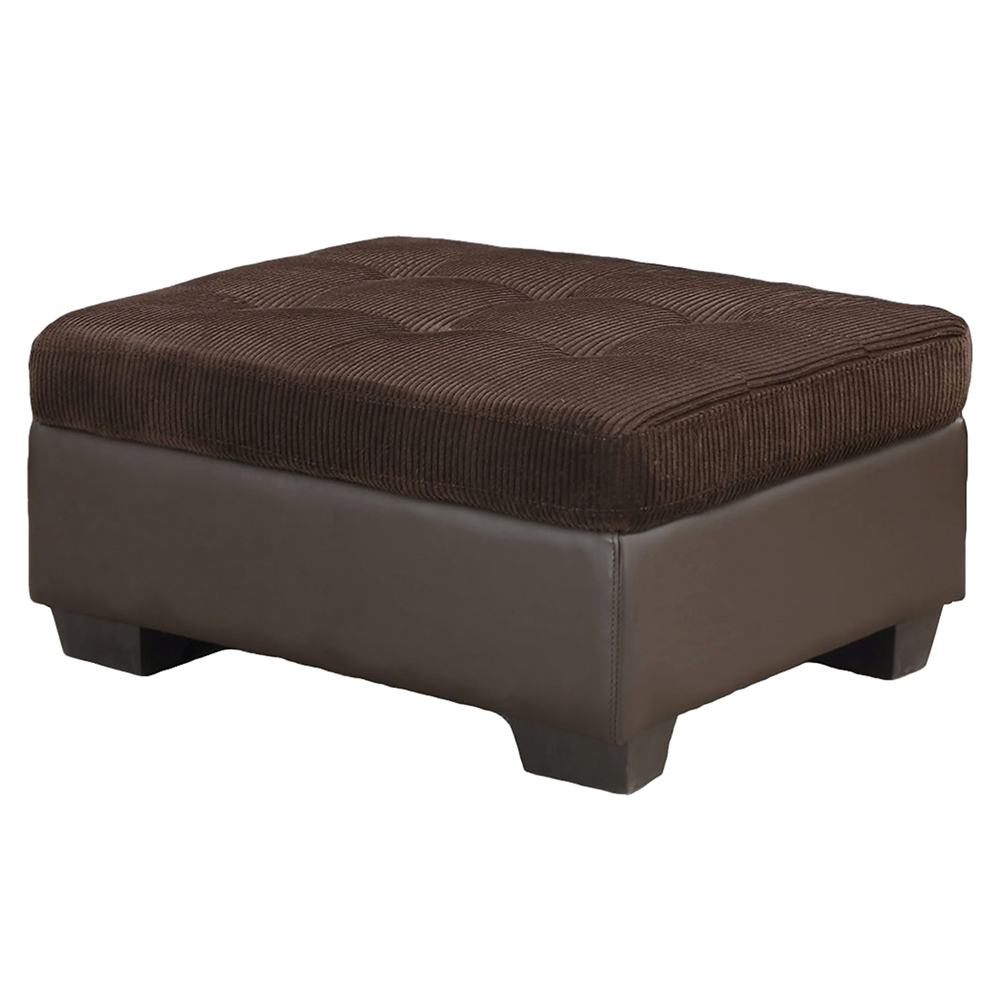 Jorge sectional sofa with ottoman chocolate corduroy for Brown corduroy couch