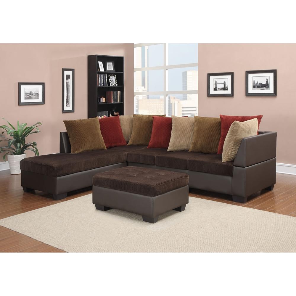 Jorge Sectional Sofa With Ottoman Chocolate Corduroy