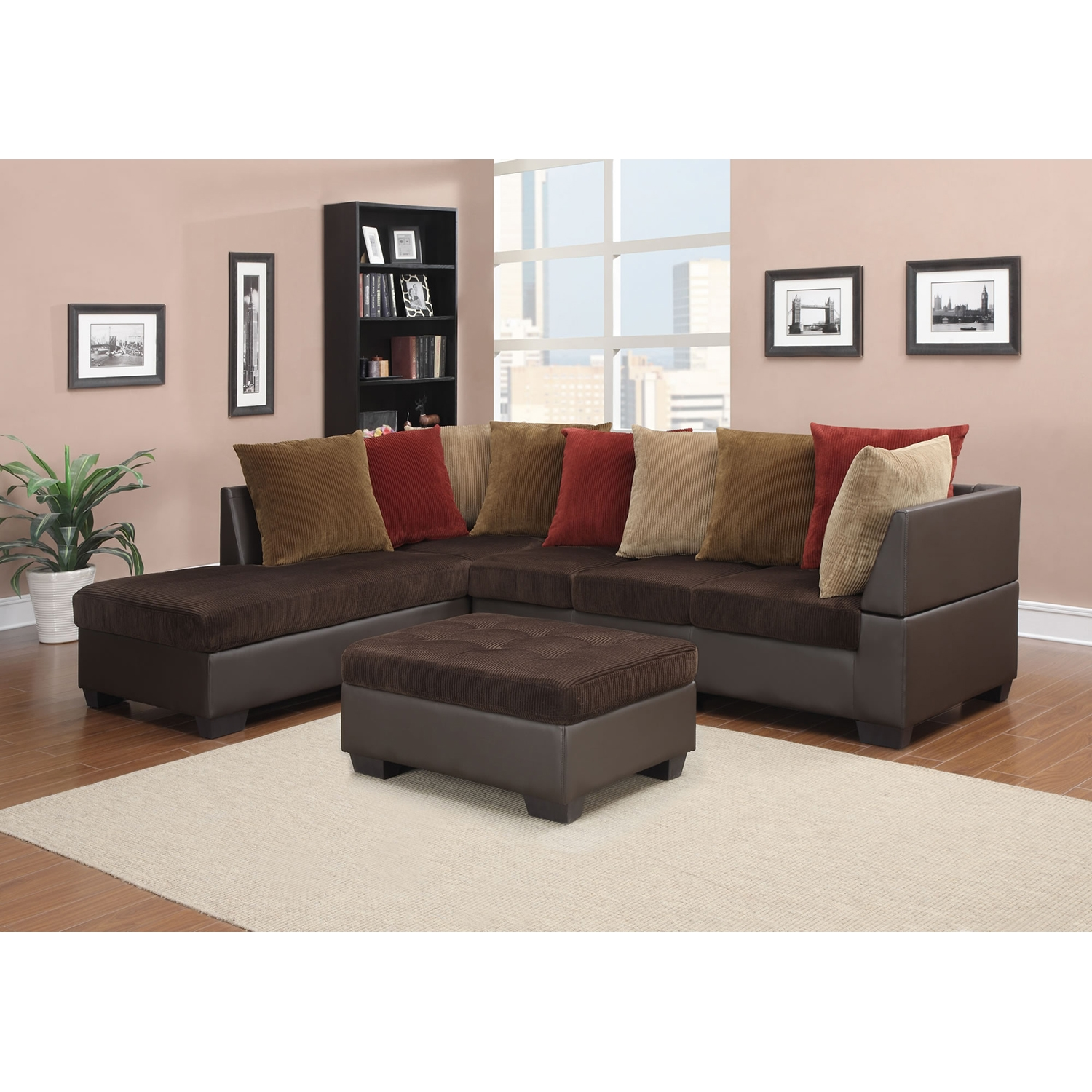 Jorge Sectional Sofa With Ottoman Chocolate Corduroy