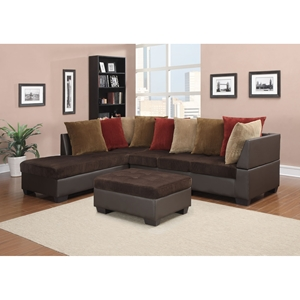 Jorge Sectional Sofa with Ottoman, Chocolate Corduroy/Brown