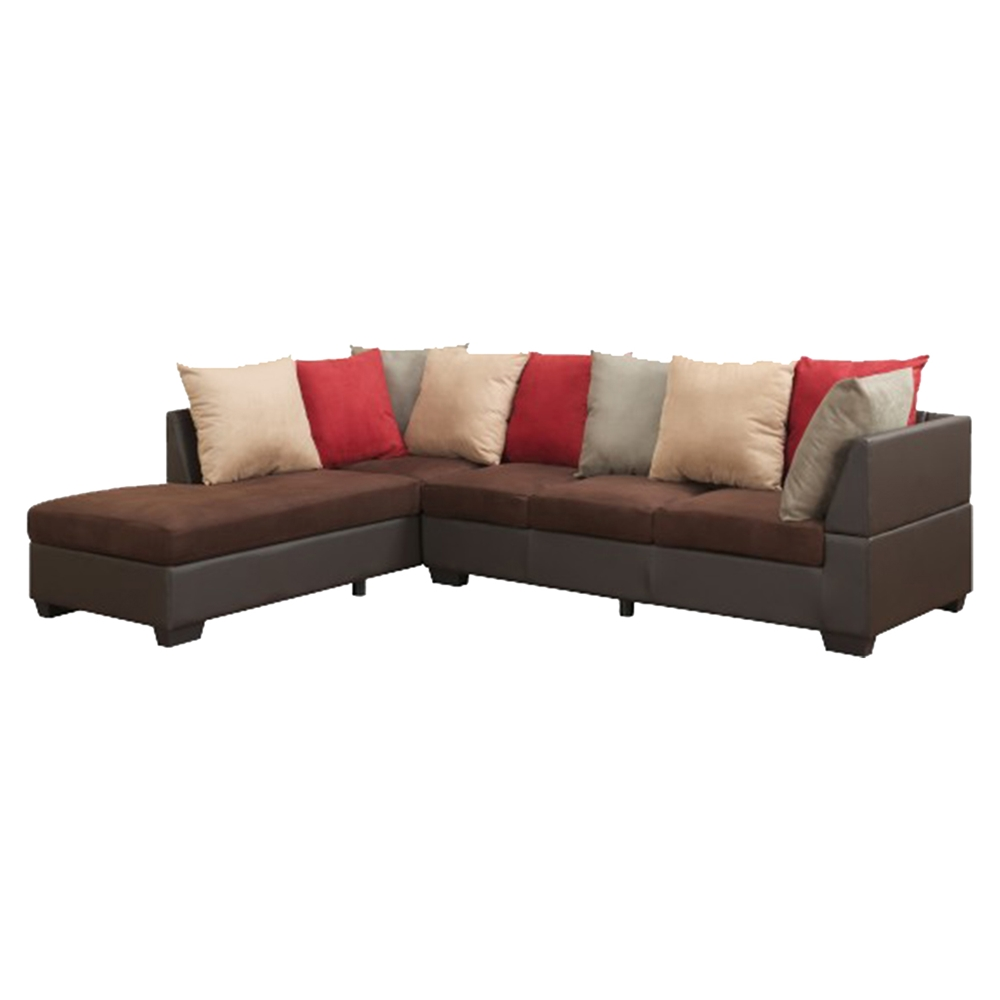 Jorge sectional sofa with ottoman in chocolate microfiber for Chocolate sectional sofa with ottoman