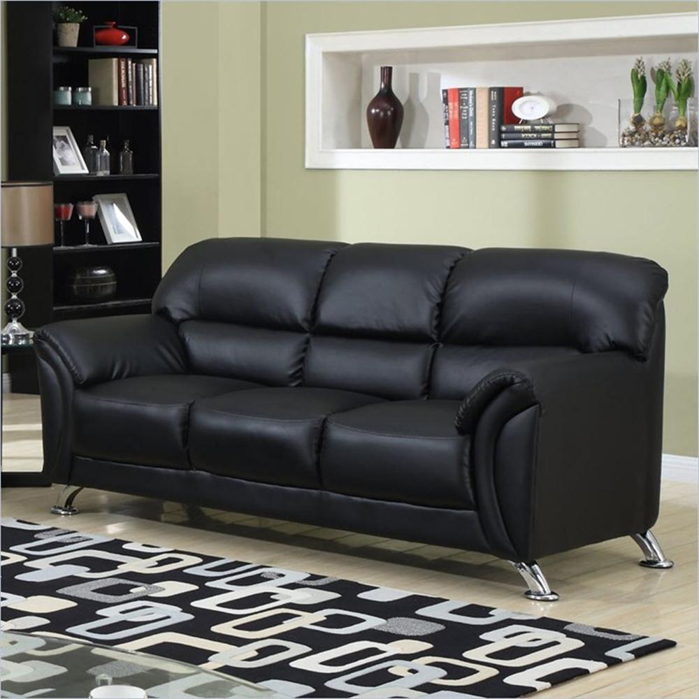 Maxwell Leather Sofa: Maxwell Leather Look Sofa, Black