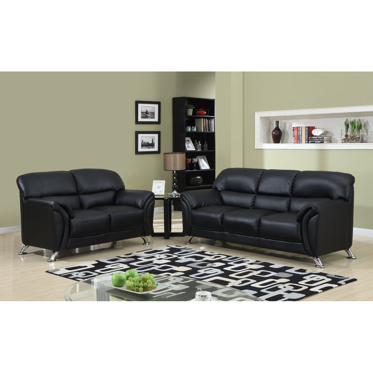 Maxwell Sofa Set In Black Leather Look