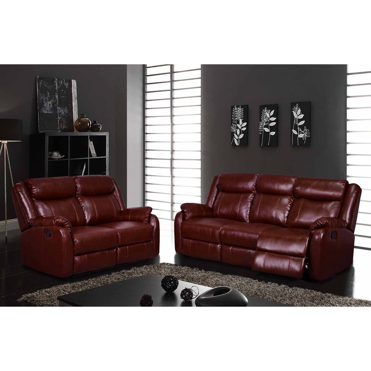 Nolan Reclining Sofa Set In Burgundy Leatherette Dcg Stores