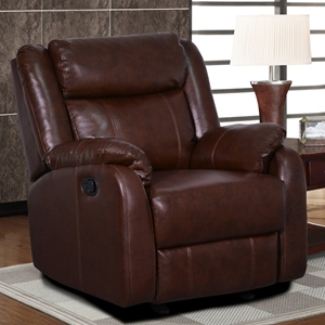 Nolan Glider Recliner Chair - Brown Leather