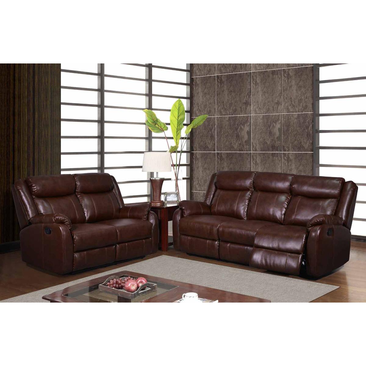 Nolan Reclining Sofa Set Brown Leather Glo U9303c Br