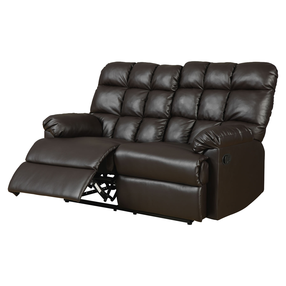 Jacqueline Reclining Loveseat In Dark Brown Bonded Leather Dcg Stores