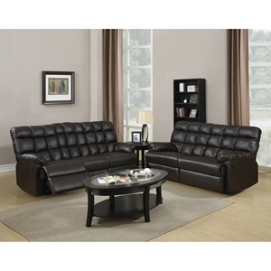 Jacqueline Bonded Leather Sofa Set in Dark Brown